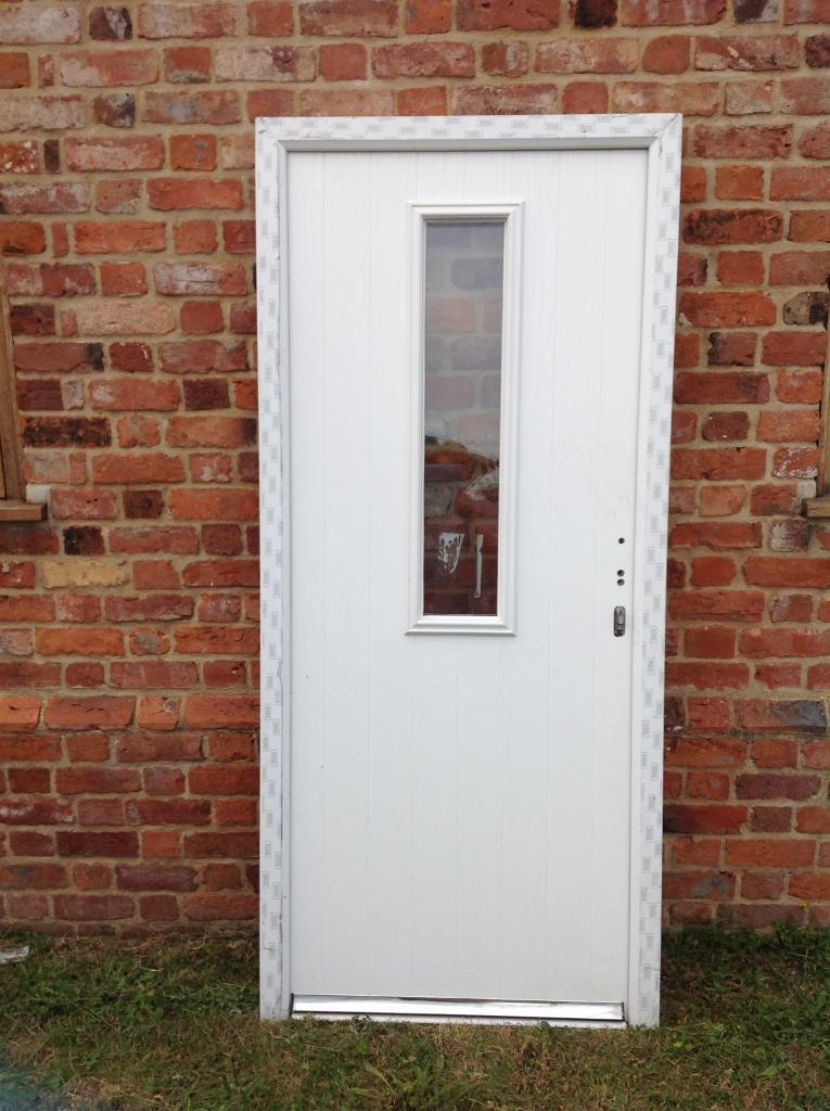 Charming White Contemporary Upvc Composite Front Door New Height 2090 X Width 920 Mm