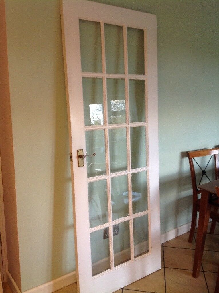Wooden White Painted Internal Glazed Glass Door 15 Panels Hinged Handles  Surrey