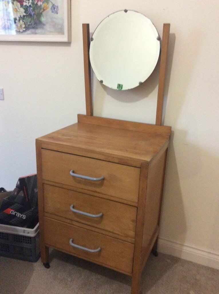 Small Dressing Table With Round Mirror, Antique Solid Wood