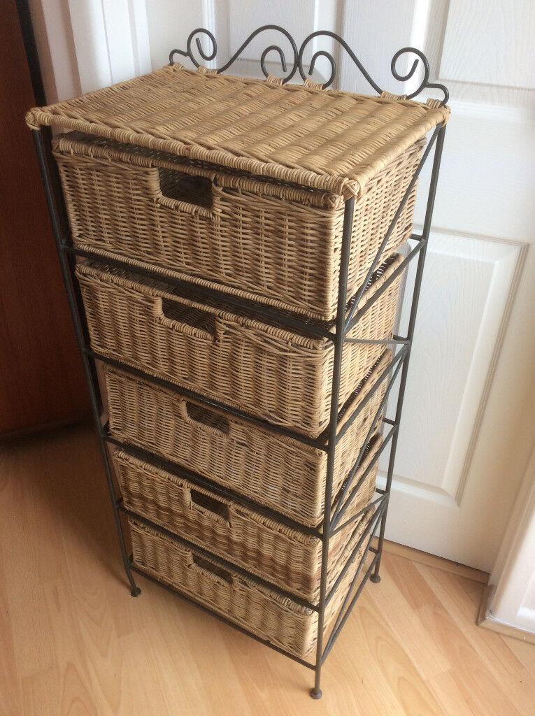 Quality IRON U0026 WICKER Storage Drawer/ Unit In Excellent Condition