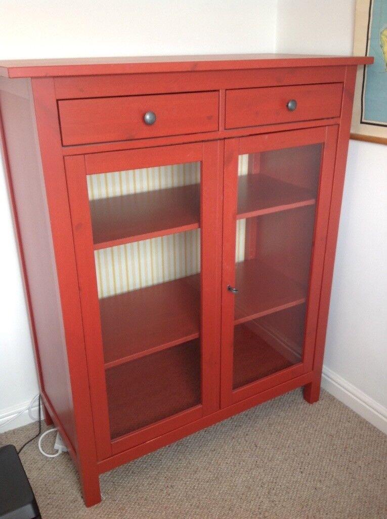 Red Ikea Hemnes Display/linen Cabinet