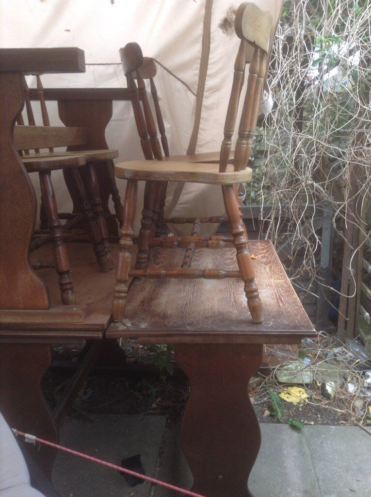 Pub Tables X7 And 32 Chairs Ideal For Shabby Chic Restore, Will Sell  Separately £