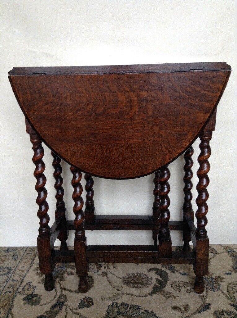 Dark Wood Drop Leaf Table Barley Twist Gate Legs Circa 1930s
