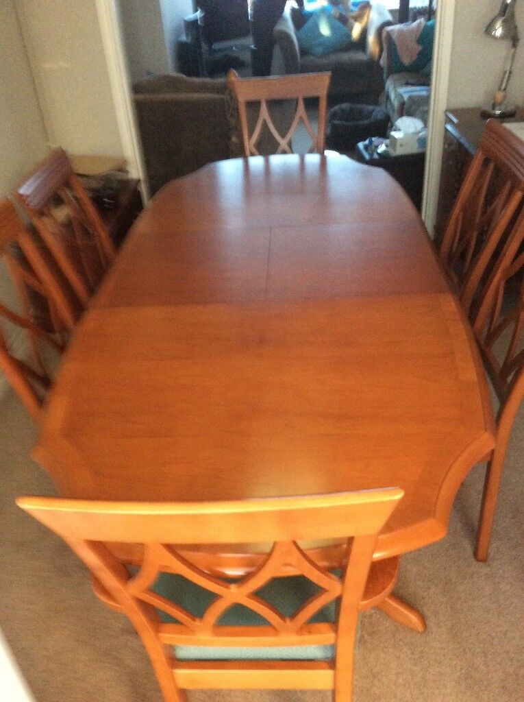 Cherrywood Dining Table And 6 Chairs Includes 2 Carvers. Quinn Furniture,  Dagenham