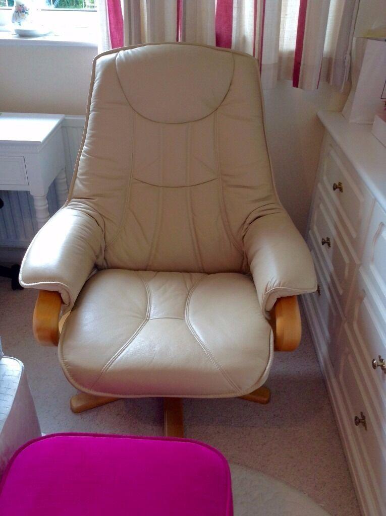 Cream Leather Somo A/S Stressless Swivel Recliner / Reclining Chair - Nordic & Cream Leather Somo A/S Stressless Swivel Recliner / Reclining ... islam-shia.org
