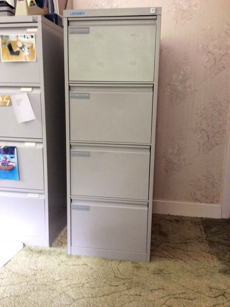Grey Metal 4 Drawer Filing Cabinet With Hanging Files | In ...