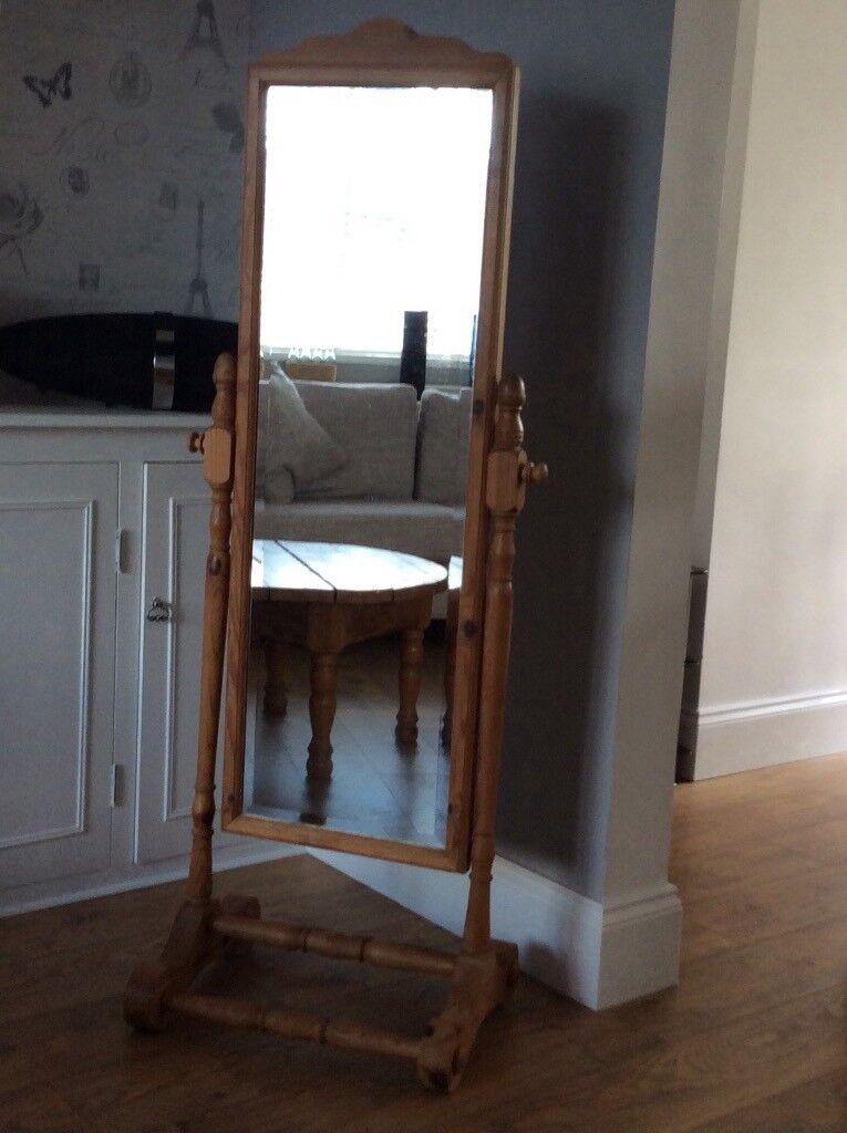 Full Length Free Standing Solid Pine Bedroom Dressing Mirror