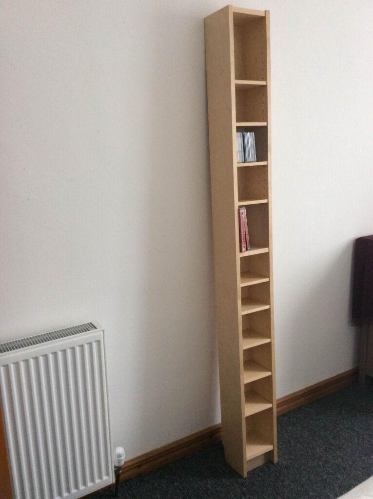 Ikea CD/DVD Storage Tower, Birch Veneer, Gnedby: 202cm High, 20cm