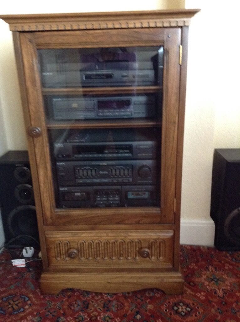 Captivating Sony Compact Hi Fi Stereo System In An Ercol Winchester Hi Fi Cabinet In