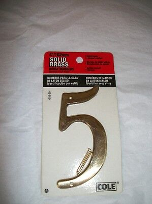 "4"" /102 mm Solid Brass House Number ""5"" Cole on Rummage"