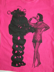 FUSCHIA-PINK-FORBIDDEN-PLANET-T-SHIRT-ROBBY-ROBOT-TOP-MOD-SCI-FI-CULT-FRUIT-LOOM