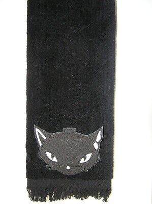 black cat fingertip TOWEL FREE SHIP kitty kitten halloween witch wicca bath ()