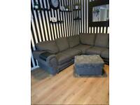 Grey corner sofa with storage pouffe