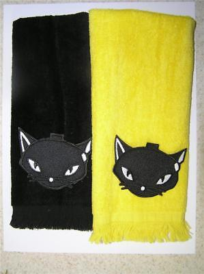 lot of 2 halloween cat fingertip TOWELS cute FREE SHIP wicca  october 31 yellow](October Halloween Cute)