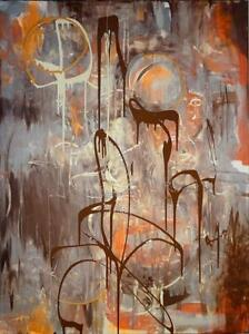 "Original Art 30x40"" BIRTH OF THE PLANETS Valerie Koudelka Oakville Abstract Painting Canadian Artist Brown Silver Orange"