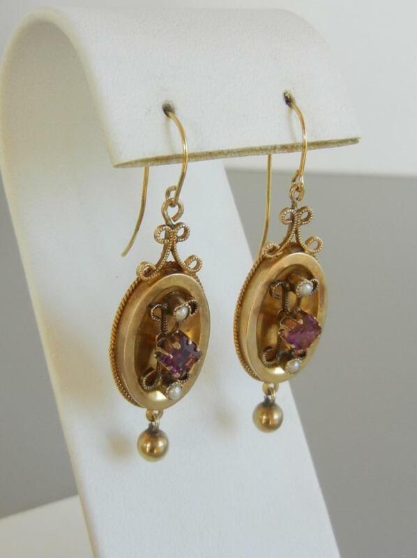 """Antique Victorian 1 7/8"""" Earrings 14K Gold Garnet Pearls Dangle Wire Pierced"""