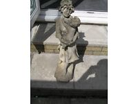 STONE MOP-CAP MAIDEN HOLDING CHILD GARDEN ORNAMENT