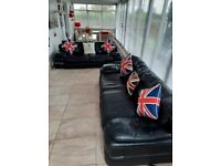 REDUCED Stunning barker and stonehouse modern real genuine quality leather large 2 x 2 seater sofas