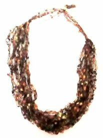 BRAND NEW. BEAUTIFUL & UNUSUAL KNITTED/CROCHETED NECKLACE. BROWN