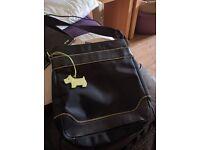 Radley Cross Body Pocket Bag Messenger Bag Black with Yellow Dog - Quite Rare