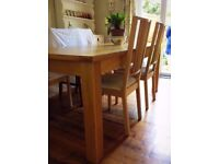 Dining table and chairs - solid oak