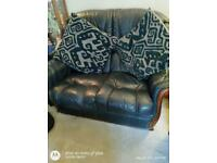 Navy authentic leather two seater sofa & two chairs