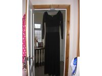 Ronen Chen - Small/Medium - Long Black Dress with Chiffon Arms & Middle