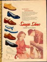 Large (10 ½ by 15) 1956 full-page color ad for Savage Shoes