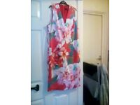 Dress Red , White , Pink and Green Size 14.