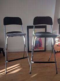 2 Bar Stools with backrest, foldable FRANKLIN Ikea