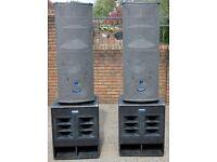 Mackie 4kw Active Speakers SA1232's & SWA1801's
