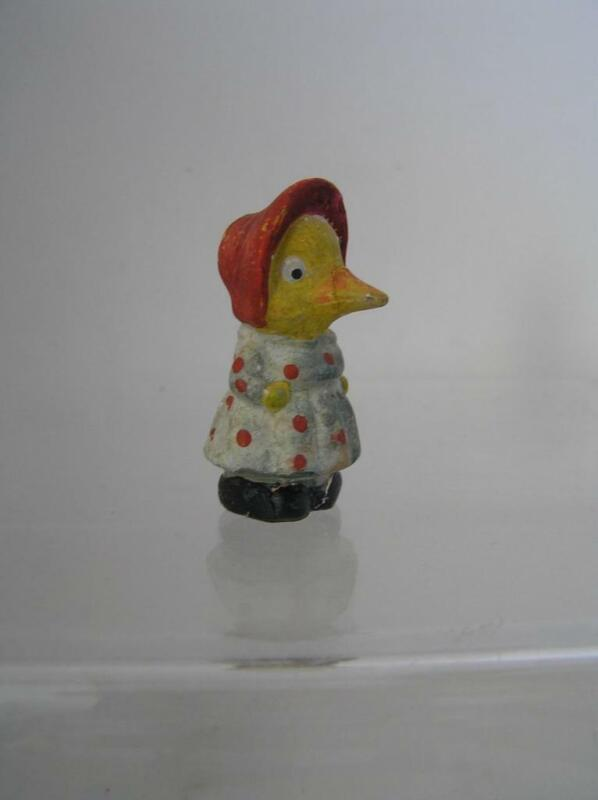 "Antique German Composition Miniature Dressed Bonnet Girl Easter Duck 2"""