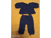 hand crocheted baby bot winter set 0-3 mths navy blue new