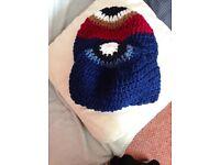 2 hand crocheted unisex chunky beanie hats new
