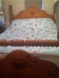 Oak Double Bed with Beams
