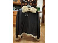 Linea Pelle Aviator Jacket, Size M, Genuine Leather