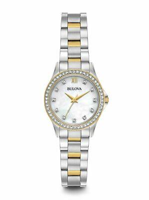 Bulova Women's Quartz Swarovski Crystal Accents Two-Tone 28mm Watch 98X112