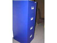 FOUR DRAWER METAL FILING CABINET (BLUE)