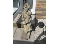 LOVELY WEATHERED STONE MOP-CAPPED MAIDEN HOLDING CHILD GARDEN ORNAMENT