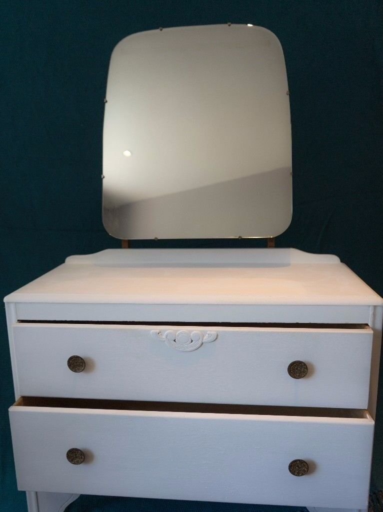 White 1930s Original Antique Dressing Table Vanity Dresser Mirror With 2 Drawers