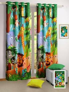 Digitally Printed Jungle Kids / Baby Blockout Eyelet Green 1 x Curtain 120x220cm