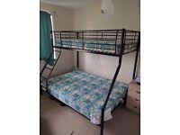 Metal Triple Bunk Bed (BLACK) + 2 Mattresses - Great Condition