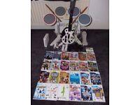 Nintendo Wii huge bundle, Console, 24 games, drum kit, guitar, fit board, controllers