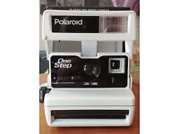 Classic White Polaroid Camera - Refurbished by Impossible (with 8 colour instant film)