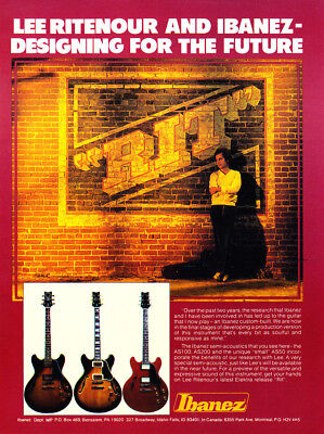 """1981 Jazz Guitarist Lee Ritenour photo """"For the Future"""" Ibanez Guitars print ad for sale  Skippack"""