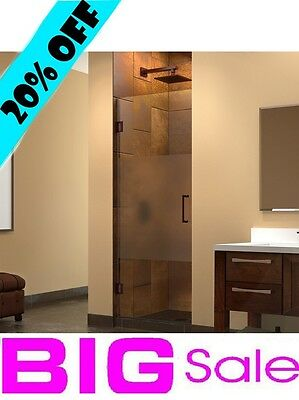 "Hinged Shower Door 42"" x 72"" DreamLine SHDR-244207210 Half Frosted Glass Chrome"