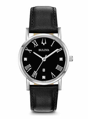 Bulova Classic Collection Women's Quartz Black Leather Band 32mm Watch 96P192