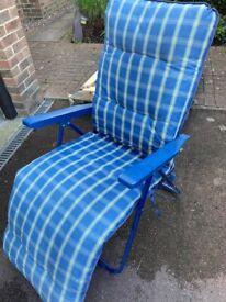 Blue Check Recliner Garden Chair - £10