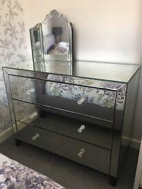 John Lewis mirrored large glass chest of drawers
