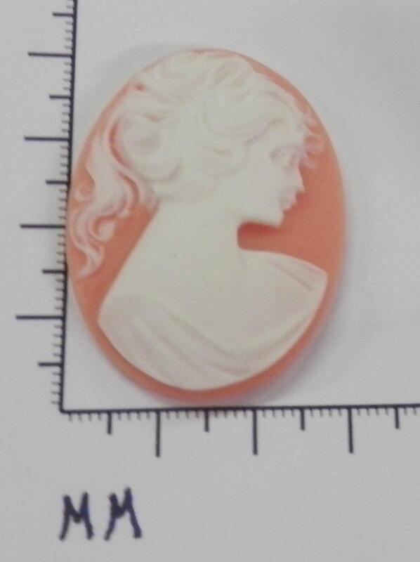 70243       Cameo - Vict Lady in Long Hair  Peach/wht. Oval 30x40  - by dz.SALE